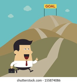 Businessman walking on the street to goal, Business idea