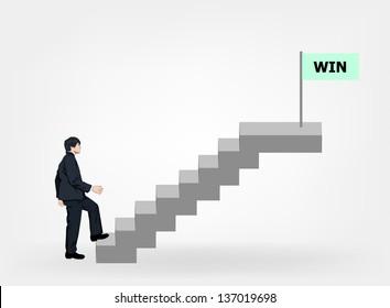 Businessman walking stair