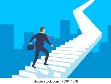 Businessman walking up stairway, Employee climb up the staircase, Business concept growth and the path to success, Flat design vector illustration