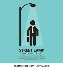 Businessman Walking Under Street Lamp Vector Illustration