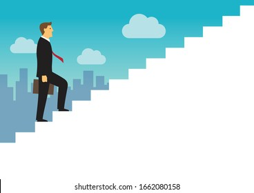 Businessman walking up the white stairs, Employee climb up the staircases, Business journey concept growth and the path to success, With copy space, Flat design vector illustration
