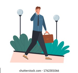 Businessman walking to work with his briefcase while chatting on his mobile phone, colored vector illustration