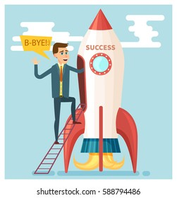 Businessman walks into a rocket of success. Vector business and success  concept  in flat style