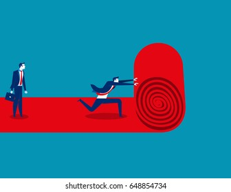 Businessman walks red carpet and staff rolls out. Concept business vector.