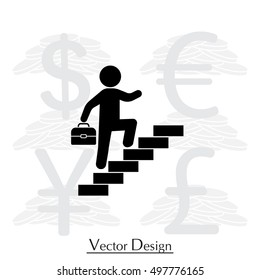 businessman walks up the stairs icon