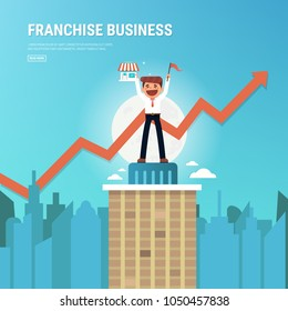 Businessman want to expand his business, Franchise Concept. vector. flat design, success concept.