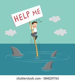 Businessman want to get rescue under word help me, vector illustration cartoon