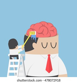 Businessman wash and cleaning the brain of his colleague, brainwashing, Clear your mind concept
