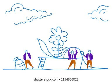 businessman watering flower plant business growth concept future success strategy team working process sketch doodle horizontal vector illustration