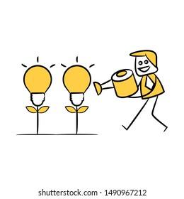 businessman watering idea light bulb plant, yellow stick figure