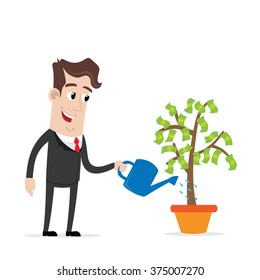 Businessman watering a money tree