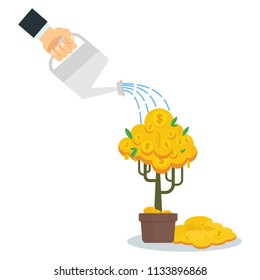 Businessman is watering a money tree. Concept of banks and finance, investment and revenue growth. Flat vector cartoon illustration. Objects isolated on a white background.