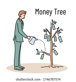 A businessman is watering a money tree. hand drawn style vector design illustrations.