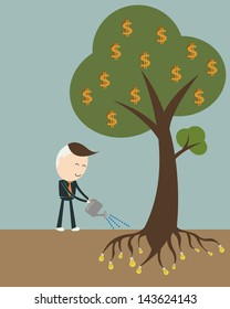 Businessman watering a money tree, vector format