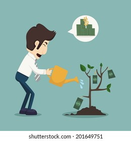 Businessman watering a plant of money, eps10 vector format