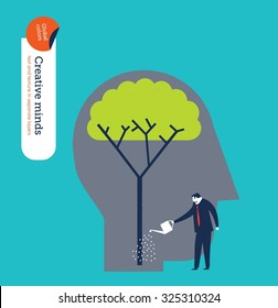 Businessman watering a tree brain. Vector illustration Eps10 file. Global colors. Text and Texture in separate layers.