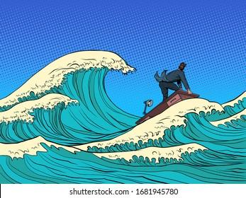 businessman waves of the economic storm crisis. Pop art retro vector illustration kitsch vintage 50s 60s style