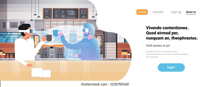 businessman wear digital glasses drinking coffee with virtual reality man vr vision headset innovation concept modern cafe interior flat horizontal copy space vector illustration