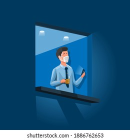 Businessman wear mask standing in window holding smartphone and coffee cup. new normal activity working at office or wfh concept in cartoon illustration vector