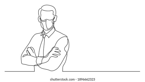 businessman wearing face mask with crossed arms - single line drawing