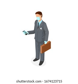 Businessman Wearing Virus Protection Medical Face Mask and Rubber Gloves - Covid 19 outbreak - Isometric Icon Vector Illustration.