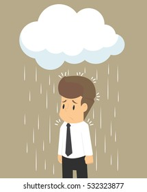 businessman wet from the rain, on a bad day. vector