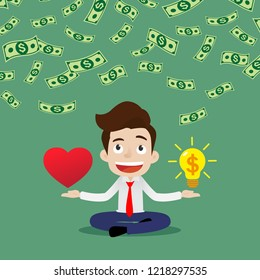 Businessman who has the idea of making money from what he loves, Cartoon vector illustration