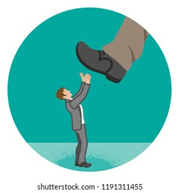 Businessman who is nearly trampled by the huge foot - Power harassment concept art