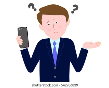 The businessman who is troubled with the operation of the smart phone.