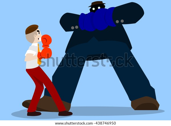 Businessman will boxing with big suite guy, Business concept illustration.