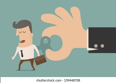 Businessman With Wind-up Key In His Back  , eps10 vector format