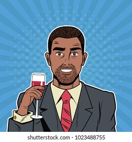 Businessman with wine cup