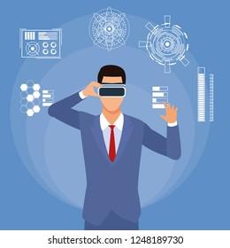 businessman wirh virtual glasses