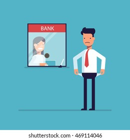 Businessman without money nothing to pay the loan , the debt to the bank. Man is not the money to pay. A man in a difficult financial situation. Banking system. Vector illustration in a flat style.