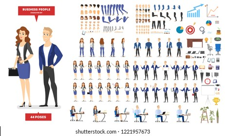 Businessman and woman character in suit set for animation with various views, hairstyle, emotion, pose and gesture. Different office equipment. Isolated flat vector illustration