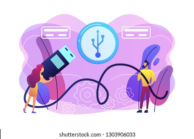 Businessman and woman choosing port to insert cable and USB symbol. USB connection, USB port standard, digital data communications concept. Bright vibrant violet vector isolated illustration