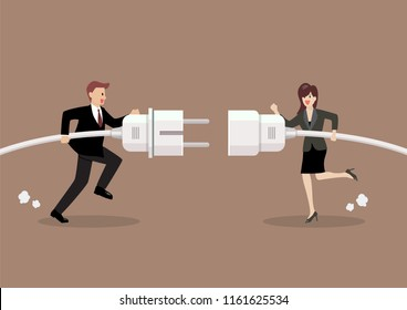 Businessman and woman connecting hold plug and outlet in hand. Business concept