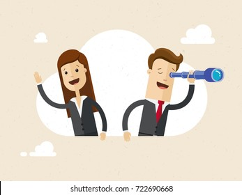 Businessman and woman sitting on a cloud. Businessman using telescope looking for success and woman waving someone's hand.  Vector, illustration, flat.