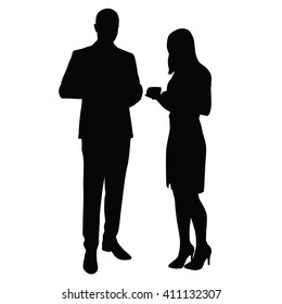 Businessman and woman standing and drinking coffee. Vector silhouettes. Break, time to relax at work in office. Man in suit, Woman in skirt. Managers, lawyers, merchants, business partners