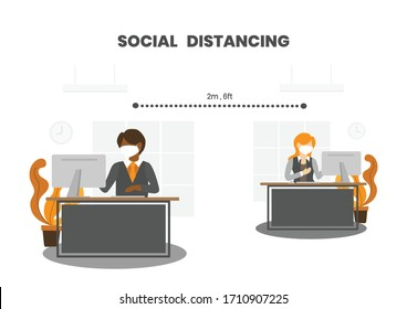 Businessman and woman wear face masks keep distance away in office.   Practice social distancing (Physical distancing) by working separately and stay at least 6 feet. COVID-19 outbreak prevention.