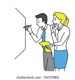 Businessman and woman, writing on white board, thinking and discussing, business concept in partnership, teamwork, coworkers, corporate. Outline, linear, thin line art, hand drawn sketch design.