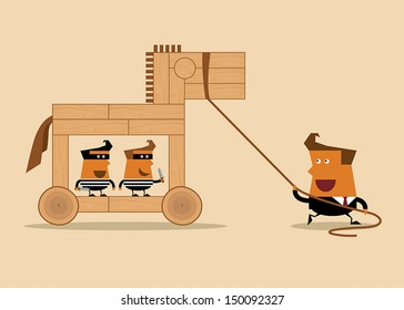 Businessman with wooden horse and thieves, business idea