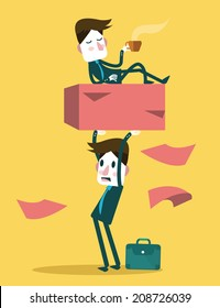 Businessman work hard alone. Exploit partner concept. vector illustration