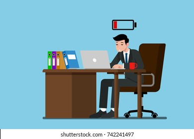 Businessman work hard and feel tired and very exhausted at the desk and running out of energy. Flat vector illustration design of employee character working with the laptop computer.
