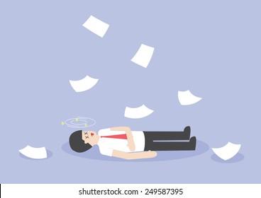 Businessman work hard and unconscious on the floor, VECTOR, EPS10
