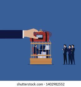 Businessman work on desk with bomb client waiting metaphor of deadline. Illustration For Wallpaper, Banner, Background, Book Illustration, And Web Landing Page.