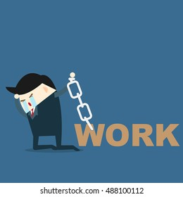 businessman and a lot of work problem , problem at work concept. vector