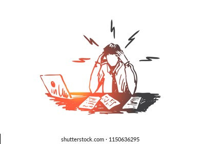 Businessman, work, stress, financial report concept. Hand drawn upset man at work place with laptop concept sketch. Isolated vector illustration.
