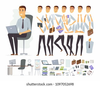 Businessman at work - vector cartoon people character constructor isolated on white background. Set of different poses, gestures, emotions for animation. Workplace with computer and office supplies