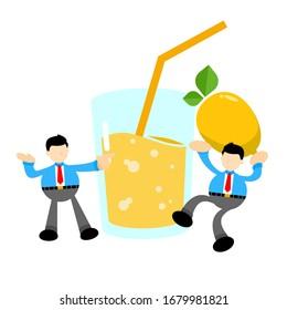 businessman worker and drink fresh lemon fruit juice cartoon doodle flat design style vector illustration
